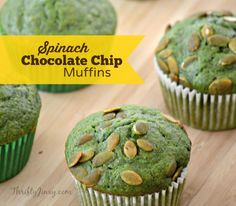 This Spinach Chocolate Chip Muffins Recipe is delicious and packed with nutrition. So good!
