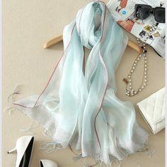 Elegantný ľahký dámsky hodvábny šál - vzor 04