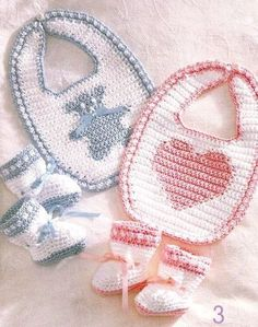 Crochet Baby Bibs Booties Sets New Pattern by LittleAdorables