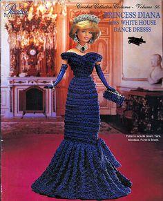 Princess Diana 1985 White House Dance Dresss Crochet Collector Costume Volume 56 Fashion Doll  Crochet Pattern.