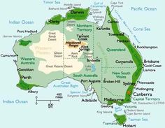 Australia Map and Information, Map of Australia, Facts, Figures and Geography of Australia Geography Of Australia, Australia Map, Brisbane Australia, Western Australia, Australia Facts, Australia Photos, Australia Information, Western Springs, Geography