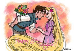 Flynn and Rapunzel Disney Wiki, Disney And Dreamworks, Disney Magic, Disney Art, Disney Pixar, Disney Dream, Rapunzel And Eugene, Tangled Rapunzel, Disney Rapunzel