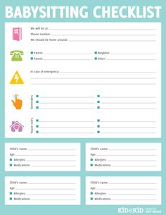 + printable babysitting checklist (have parents fill out before they leave house!)