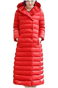 Fashion Womens Slim Double Breasted Long Duck Down Hooded Dress Coat Puff Jacket -- You can get additional details at the image link. (This is an affiliate link)