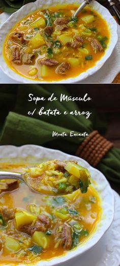 No inverno, é quase impossível resistir a um delicioso prato de Sopa de Músculo com Batata e Arroz Basmati, quentinha ela é muito bem vinda!