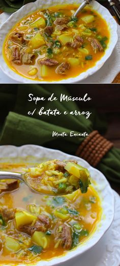 Sopa Muscular con Patatas y Arroz Basmati - Sopa Receitas - Kitchen Recipes, Gourmet Recipes, New Recipes, Soup Recipes, Healthy Recipes, Vegetarian Cooking, Easy Cooking, Pan Fried Scallops, Pasta Facil
