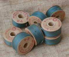 8 Style G Bobbins by American Thread Co, Cardboard Bobbin Lot, Vintage Sewing Sea Green, Blue Green by MendozamVintage on Etsy