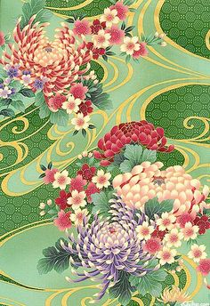 From the 'Hanami' collection from Hoffman FabricsThis would make gorgeous wallpaper! Japanese Textiles, Japanese Patterns, Japanese Prints, Japanese Fabric, Japanese Design, Motifs Textiles, Textile Patterns, Floral Patterns, Art Japonais