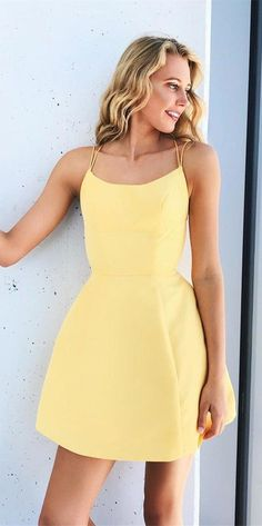 simple yellow stain short homecoming dresses for teens, cheap graduation party dress, chic summer skirts dresses for teens A-Line Spaghetti Straps Short Pink Homecoming Dress with Pockets Winter Formal Dresses, Formal Dresses For Teens, Modest Dresses, Tight Dresses, Dance Dresses, Simple Dresses, Cute Dresses, Prom Dresses, Cheap Dresses