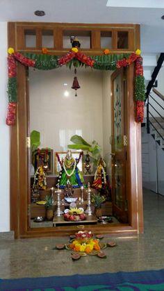 Varalakshmi Pooja Room Door Design, Main Door Design, Tv Wall Decor, Wall Tv, Ganesh Chaturthi Decoration, Temple Design For Home, Mandir Design, Bedroom Cupboard Designs, Puja Room