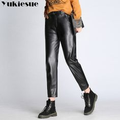 cd66d249b12 High waist 2017 Winter Women Stretch PU Leather Pants Black Warm Trousers  Ladies Plus Size Female