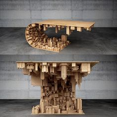 Wave City Coffee Table    Mousarris  This awesome table was inspired by the film Inception. It is made of steel and wood and of course the use of 3D printing. It costs 6500 but the detail is incredible. I hope they can create a line of various tables and other pieces with this theme maybe even personalised ones.  #design #productdesign #interior #interiordesign #creative #ideas #art #furniture #furnituredesign #modern #home #homedesign #customdesign #luxury #industrial #industrialdesign…