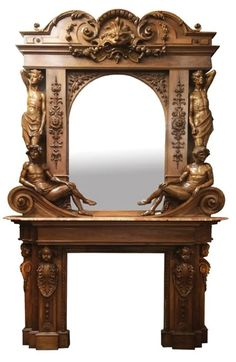 "Beautifully carved walnut mantel and over mantel with mirror, marble surface, and carved male figures. 11'H x 87""W x ... on Jun 18, 2016 Fireplace Surrounds, Fireplace Mantels, Oak Mantel, Mantle, Vintage Mantel Clocks, Mantel Mirrors, Prop Design, Plantation Homes, Male Figure"