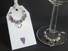 Set of Personalised Gift Tags Wine Glass Charms Wedding Favours Party Purple Heart
