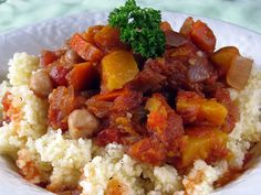 Greek Crockpot Stew - Easy vegetarian crockpot dinner    For couscous - Add 4 cups boiling water with 1 Tbs olive oil and 1 tsp salt to 2 cups couscous in a flat baking dish, cover for 15 minutes until all water is absorbed and fluff with fork.
