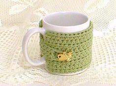 Hand Crocheted Mug Cozy  Crocheted in Cabbage Sage by taschekats, $10.00