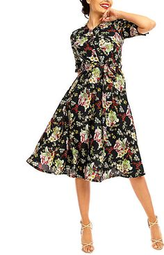 d4e1d5f451e Black  amp  Light Green Floral Summer Shirt Dress  ad Retro Dress