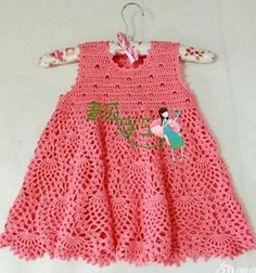Beautiful crochet girl's dress. Pattern for the top given but missing the pineapple stitch for the skirt.