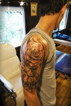 tattoo from Lefteris Toulis tattoo sleeve clock rose skull black n white art tattoo