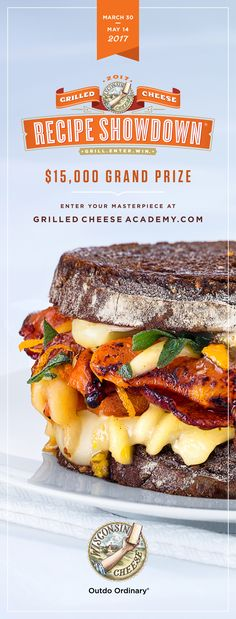 Enter the 2017 Grilled Cheese Recipe Showdown for your chance to win cash prizes, including a $15,000 grand prize! Visit GrilledCheeseAcademy.com for full details.