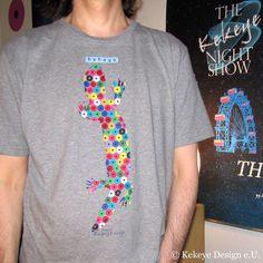 Kekeye T-Shirt of the Day / Eidechse, Lizard in Dots Design Web Design, Dots Design, Design Products, Marketing, Vienna, Designer, Interior, Mens Tops, T Shirt
