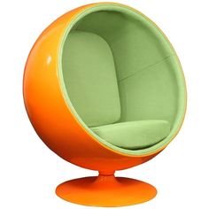 LexMod Eero Aarnio Style Ball Chair in Orange Exterior with Green... ($651) ❤ liked on Polyvore featuring home, furniture, chairs, green arm chair, green chair, orange armchair, green furniture and orange chair