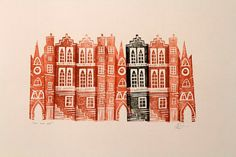 """The Odd One Out"" Linocut by Jenni Douglas. http://www.jennidouglas.co.uk/ Tags: Linocut, Cut, Print, Linoleum, Lino, Carving, Block, Woodcut, Helen Elstone, Buildings, Architecture."