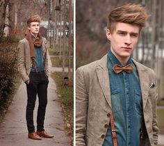 Strapping & handsome in leather suspenders and a self designed bow tie!  http://lookbook.nu/szizoli