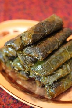 In Greece, stuffed grape leaves are called Dolmades. This is a slight regional variation that sounds delicious! Bulgarian Recipes, Lebanese Recipes, Greek Recipes, Arabic Recipes, Greek Appetizers, Appetizer Recipes, Dessert Recipes, Grape Leaves Recipe, Kurdish Food