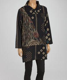Black & Burgundy Geo Abstract Jacket - Women & Plus by Cupcake International #zulily #zulilyfinds