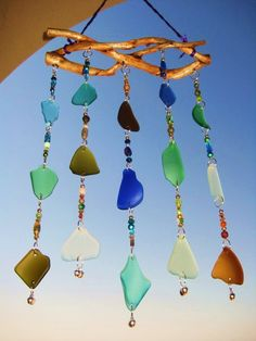 Sea Glass Windchime/Suncatcher with Beads and Bells Sea Glass Crafts, Sea Glass Art, Glass Wind Chimes, Beach Crafts, Coordinating Colors, Beads And Wire, Recycled Glass, Dremel, Glass Design