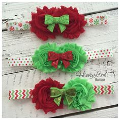 MORE CHOICES! Christmas Headband - Shabby Flower - Sequin Bow - Chevron, Polka Dot, Candy Cane - little girls newborn infant toddler baby by HoneyLoveBoutique
