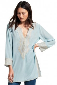 Synthia Embroidered Silk Tunic