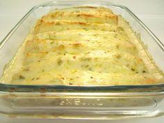 White Chicken Enchiladas with Green Chile Sour Cream Sauce - Damn Delicious