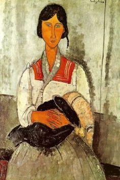Amedeo Modigliani : Bohémienne avec un enfant