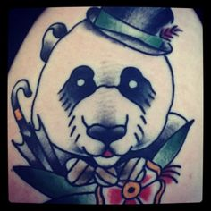 Tattoo<3 A Gentleman Panda.Done by Kevin Jarvis at Gypsy Kings in Novi, Michigan.?? Tattoo~