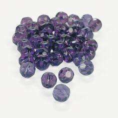 $3.50 48 Piece  Amethyst Cut Crystal Round Beads - 8mm - OrientalTrading.com