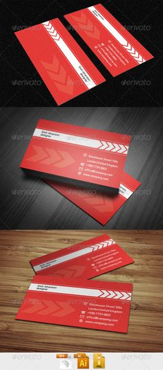 Red corporate business card design - #graphic #design