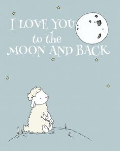 Lamb Nursery Art I Love You To The Moon And by SweetMelodyDesigns