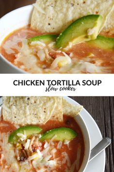 This Chicken Tortilla Crock Pot Soup Recipe is a yummy, easy weeknight dinner idea to feed your busy family. It's the perfect soup recipe for a cold winter day! #soup #souprecipes #crockpot #slowcooker #easydinnerrecipes #slowcookerrecipes