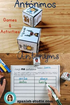 Games and activities to learn antonyms in spanish. Spanish Teaching Resources, Spanish Activities, Teaching Materials, Small Group Activities, Hands On Activities, High Frequency Words, Bilingual Education, Dado, Activity Centers