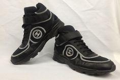 100% Authentic CHANEL High Top Sneakers Men CC Logo Tennis Trainers Black Sz 42 #CHANEL #HighTopSneakersTennisTrainers