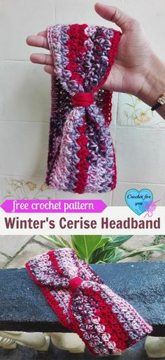 Crochet Beanie Ideas Winter's Cerise Crochet Headband Free Pattern - I had some yarns left after making Winter's Cerise Fingerless Gloves and Slouch. So before it hides under my yarn stash, I made a quick pattern. Crochet Headband Free, Diy Headband, Crochet Beanie, Free Crochet, Knit Crochet, Irish Crochet, Crocheted Hats, Crochet Hair, Baby Headbands