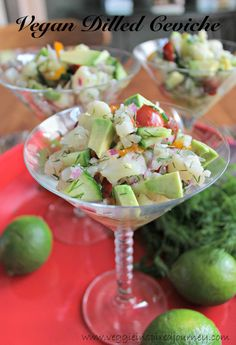 Dilled Ceviche Vegan Dilled Ceviche - the perfect light refreshing appetizer for your Christmas or New Year's Eve party!Vegan Dilled Ceviche - the perfect light refreshing appetizer for your Christmas or New Year's Eve party! Vegan Life, Raw Vegan, Vegan Vegetarian, Vegetarian Recipes, Healthy Recipes, Clean Eating Snacks, Healthy Eating, Vegan Potluck, Vegan Appetizers