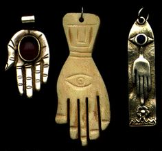 The eye-in-hand is an old and still popular apotropaic amulet for magical protection from the evil eye. Combining the imagery of Greek and Turkish blue all-seeing eye charms with the downward-facing Arab and Israeli hamsa hand, the eye-in-hand is a frequently encountered protective talisman in India and the southern Mediterranean region.