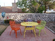 Patio furniture inspiration... But pink yellow and aqua for me!
