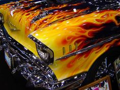 Flame paint job on a 1957 Chevy. Taken at World of Wheels car show in Chicago. - The Motor Show Custom Paint Jobs, Custom Cars, Hot Rods, E90 Bmw, Pt Cruiser, Us Cars, Sport Cars, Car Painting, Car Show