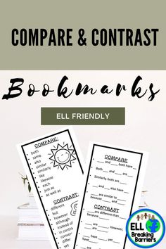 Compare and Contrast writing is a challenge for ESL learners. Use this tool designed specifically for the ESL ELL EFL EAL ESOL students in your class. Designed as a tool to have next to the student to use while writing compare and contrast.