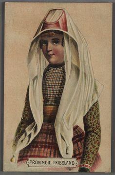 Provincie Friesland. kunstenaar:   Bing, Valentijn (1812-1895) kunstenaar:   Überfeldt, Jan Braet von (1807-1894) Vrouw, half totaal, in de traditionele klederdracht van de Hindelooper bruid. #Friesland #Hindeloopen