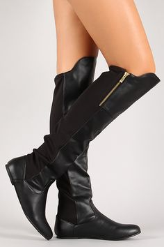 Mixed Media Leatherette Pointy Toe Flat Thigh High Boot